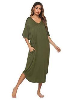 Nightgowns For Women Button-down Sleepwear Short Sleeve Nightshirt Plus Size Night Wear S-xxl