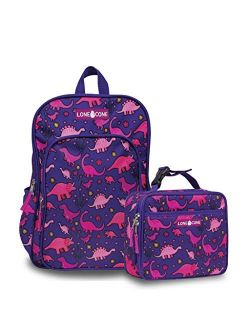 Kids' Back To School Bundle - Backpack & Lunch Box Matching Set, Pink Dinosaurs