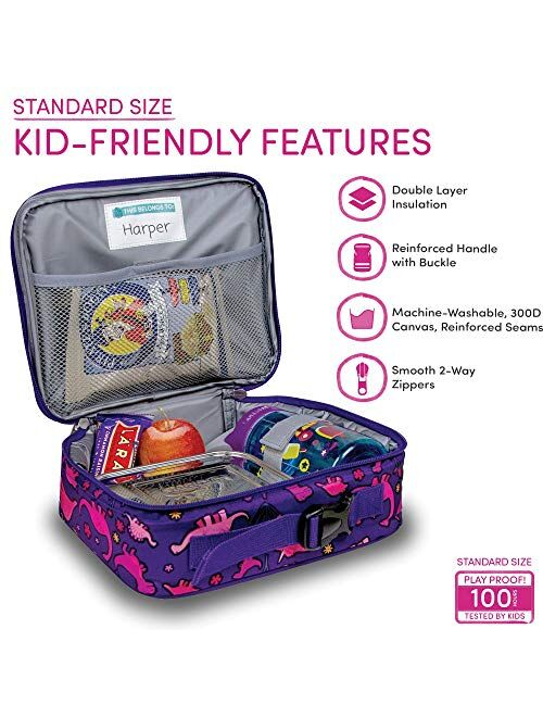 LONECONE Kids' Back to School Bundle - Backpack & Lunch Box Matching Set, Pink Dinosaurs