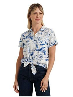 Women's Short Sleeve Button Up One Pocket Tie Front Shirt