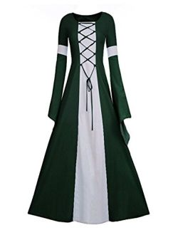 Women Medieval Dress Lace Up Vintage Floor Length Cosplay Retro Long Dress