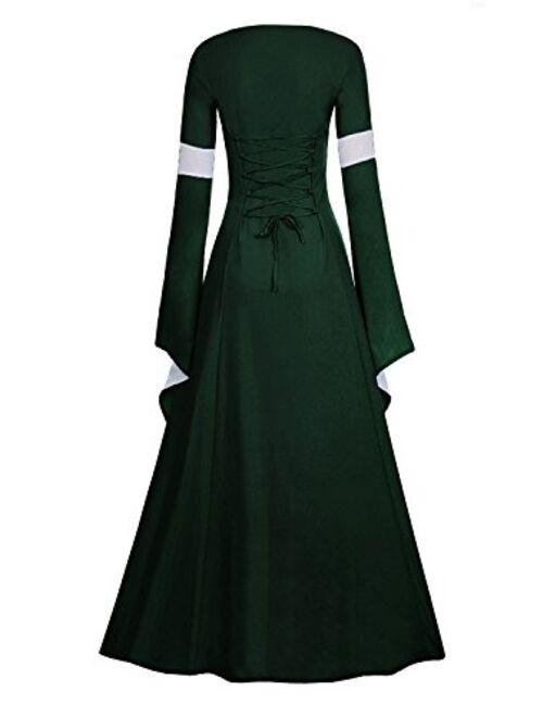 Meilidress Women Medieval Dress Lace Up Vintage Floor Length Cosplay Retro Long Dress