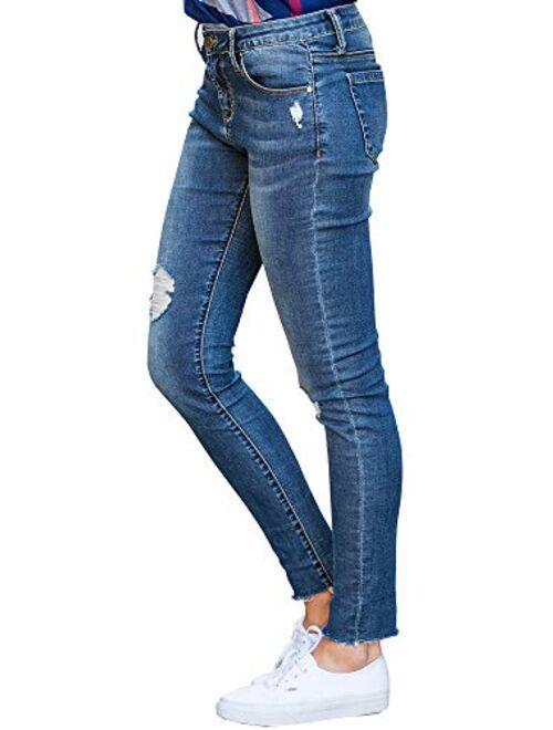 Meilidress Womens Juniors Distressed Ripped Boyfriend Skinny Denim Ankle Length Jeans