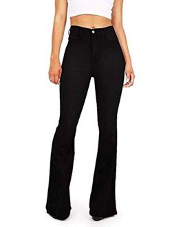 Womens High Waisted Bell Bottom Jeans Flare Stretchy Denim Pants