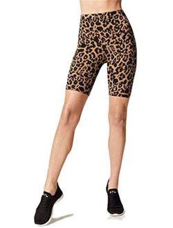 Women's High Waist Gym Shorts Leopard Print Biker Yoga Leggings Active Pants