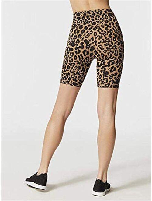 Meilidress Women's High Waist Gym Shorts Leopard Print Biker Yoga Leggings Active Pants