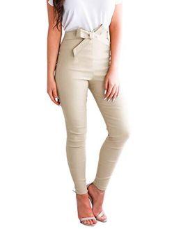 Womens Work Pants Elastic Slim Fit Butt Lift Tie Knot Front High Waist Casual Trouser