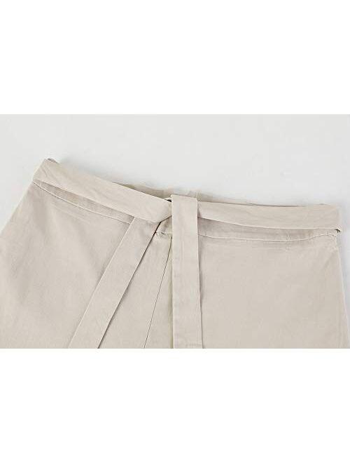Meilidress Womens Work Pants Elastic Slim Fit Butt Lift Tie Knot Front High Waist Casual Trouser