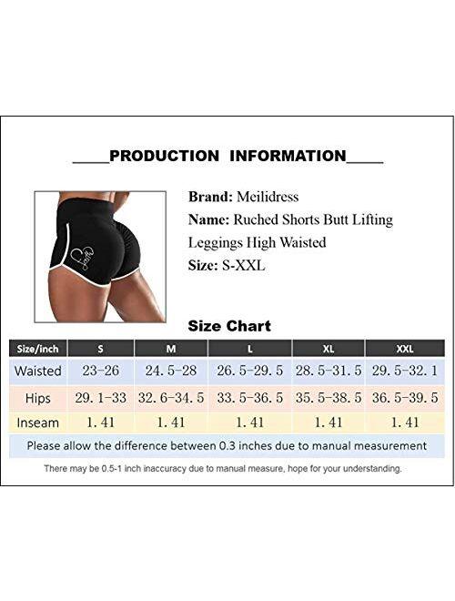 Meilidress Women's Running Shorts Scrunch Butt Lifting High Waisted Workout Camo Drawstring Shorts