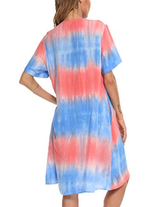 YOZLY House Dress Women Cotton Duster Robe Short Sleeve Housecoat Button Down Nightgown