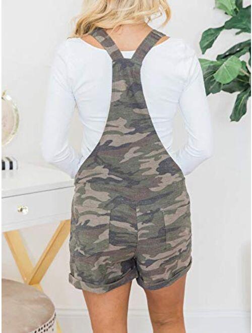 Meilidress Women's Bib Overall Shorts Summer Casual Camo Elastic Waist Comfy Fit Playsuit