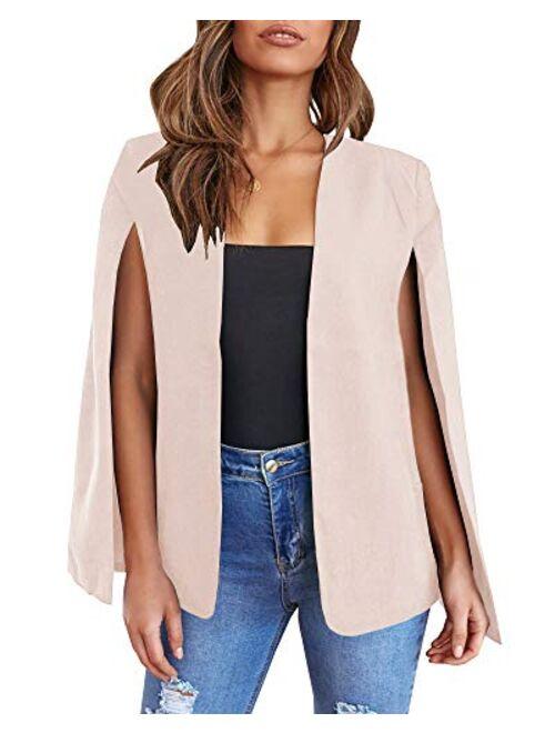 Meilidress Womens CasualCape Open FrontSplit Sleeve Bussiness Blazer Jacket Coat