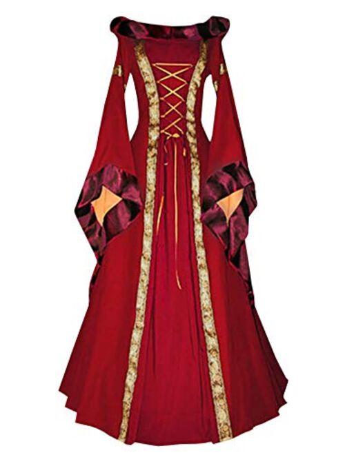 Meilidress Womens Medieval Costume Dress Renaissance Lace Up Vintage Hoodie Cosplay Retro Long Dresses