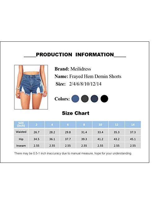 Meilidress Women's Demin Shorts Frayed Hem High Waisted Distressed Ripped Stretch Jeans