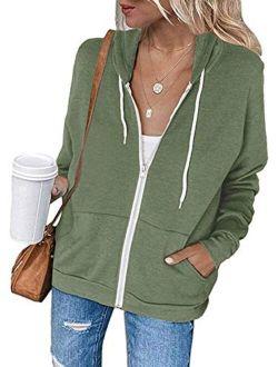 Womens Jacket Zip Up Hoodie Sweatshirt Long Sleeve Casual Drawstring Sport Coat With Pockets