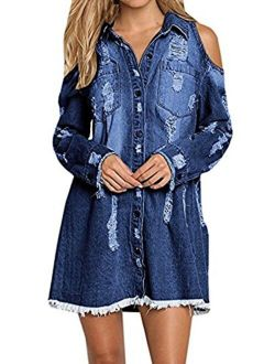 Womens Cold Shoulder Distressed Demin Shirt Dresses Button Down Long Sleeve Frayed Jeans Jacket