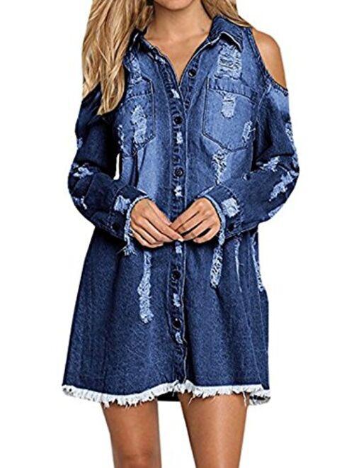 Meilidress Womens Cold Shoulder Distressed Demin Shirt Dresses Button Down Long Sleeve Frayed Jeans Jacket