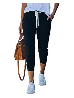 Womens Casual Stretch Drawstring Jogger Pants High Waisted Workout Lounge Capri Sweatpants With Pockets