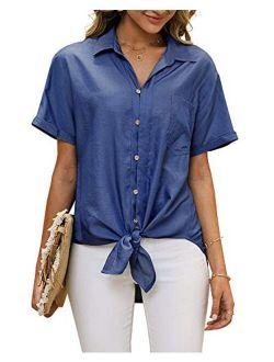 Womens Tie Knot Front Button Down Denim Shirts Short Sleeve Tunic Lapel Jeans Tops