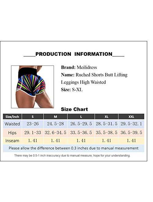 Meilidress Womens Running Shorts High Waisted Print Scrunch Butt Lifting Booty Athletic Gym Workout Yoga Shorts
