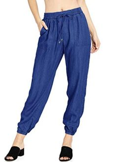 Women's High Waist Wide Leg Jeans Ankle Length Palazzo Denim Culottes With Tie And Pockets