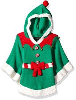 Girls Ugly Chrismas Sweater Poncho
