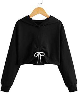 Kids Girl's Crop Tops Hoodies Long Sleeve Cute Drawstring Pullover Sweatshirts
