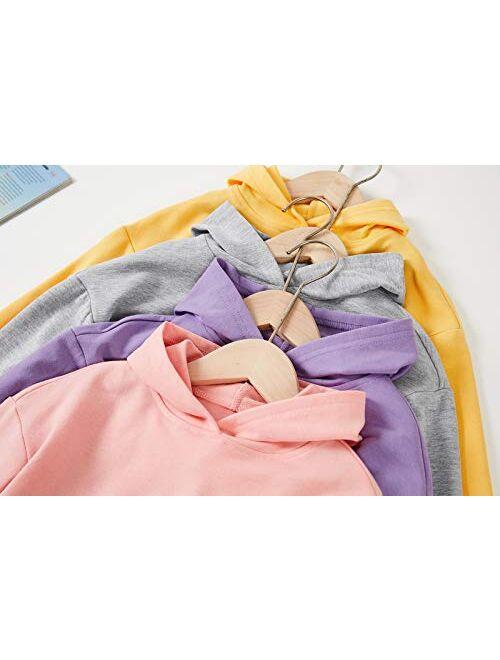 Meilidress Kids Girl's Crop Tops Hoodies Long Sleeve Cute Drawstring Pullover Sweatshirts