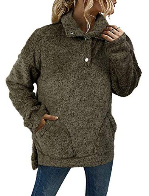 Meilidress Womens Long Sleeve Sherpa Pullover Fleece Sweatshirt Button Fuzzy Fall Winter Jacket Coat