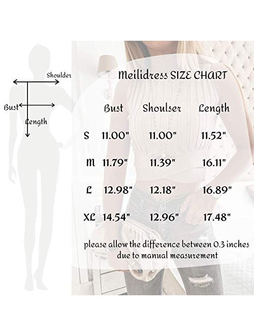 Meilidress Womens Sleeveless Mock Turtleneck Sweater Crop Tops Ribbed Front Cross Tank Tops