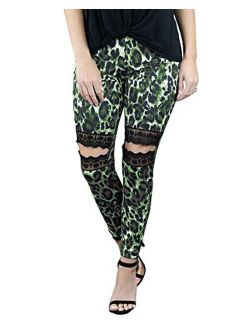 Womens High Waisted Workout Leggings Leopard Print Lace Ripped Stretch Gym Athletic Yoga Pants Trousers