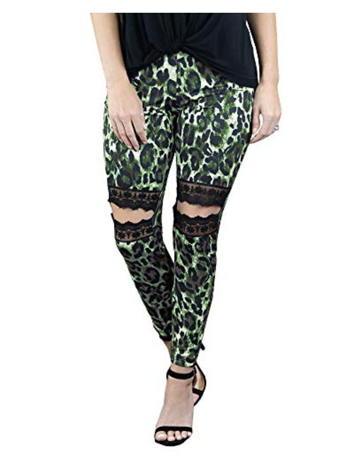 Meilidress Womens High Waisted Workout Leggings Leopard Print Lace Ripped Stretch Gym Athletic Yoga Pants Trousers