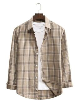 Men Plaid Curved Hem Shirt Without Tee