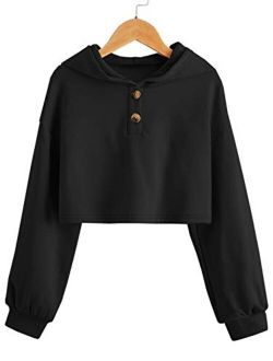 Kids Girl's Crop Tops Hoodies Long Sleeve Cute Fashion Pullover Sweatshirts With Button