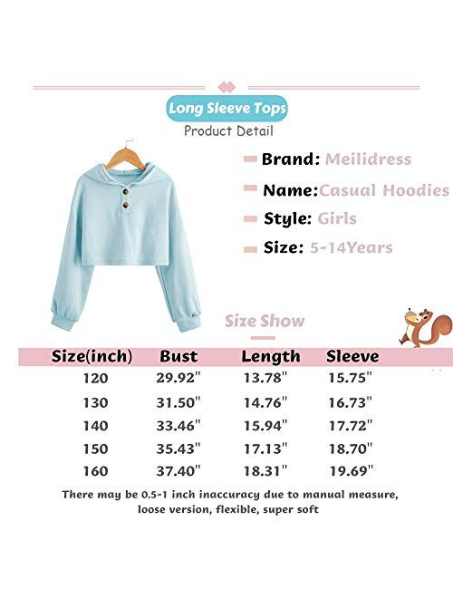 Meilidress Kids Girl's Crop Tops Hoodies Long Sleeve Cute Fashion Pullover Sweatshirts With Button