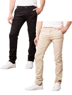Mens Slim Fit Cotton Stretch Chino Pants 2 Packs