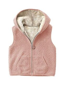 Girls Boys Sherpa Fleece Hoodies Vest Jacket Zipper Warm Sleeveless Fall Winter Outwear