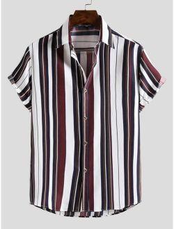 Men Vertical Striped Short Sleeve Casual Shirt