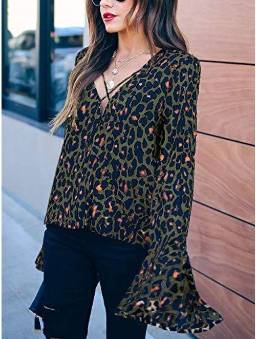 Meilidress Womens Long Bell Sleeve Blouse Sexy Criss Cross V Neck Casual Leopard Print Loose Wrap Shirt Tops