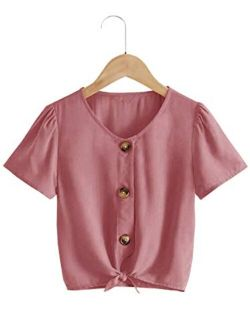 Kids Girl's Short Sleeve Tops V Neck Tie Knot Front Button Down Shirts Blouse