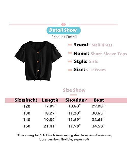 Meilidress Kids Girl's Short Sleeve Tops V Neck Tie Knot Front Button Down Shirts Blouse