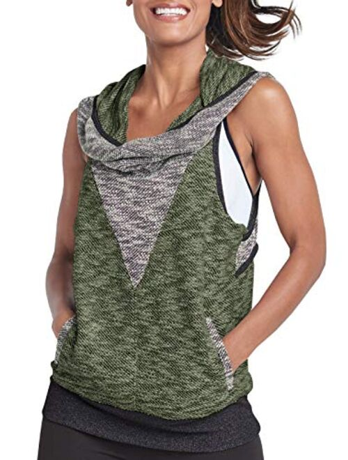 Meilidress Womens Sleeveless Hoodie Workout Tank Tops Casual Cowl Neck Athletic Knit Shirts with Pockets