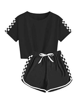 Kids Girls Tracksuit 2 Pieces Set Short Sleeve Crop Tops With Sport Shorts Sets Outfit