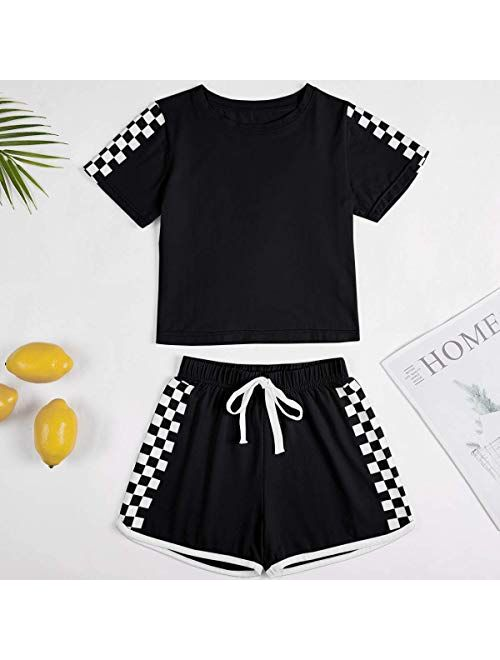 Meilidress Kids Girls Tracksuit 2 Pieces Set Short Sleeve Crop Tops with Sport Shorts Sets Outfit