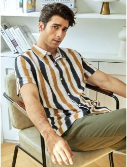 Men Striped Print Button Up Short Sleeve Casual Shirt