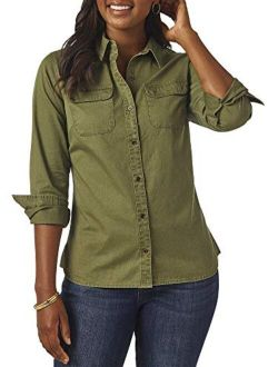 Riders by Lee Indigo Women's Heritage Long Sleeve Button Front Solid Twill Shirt