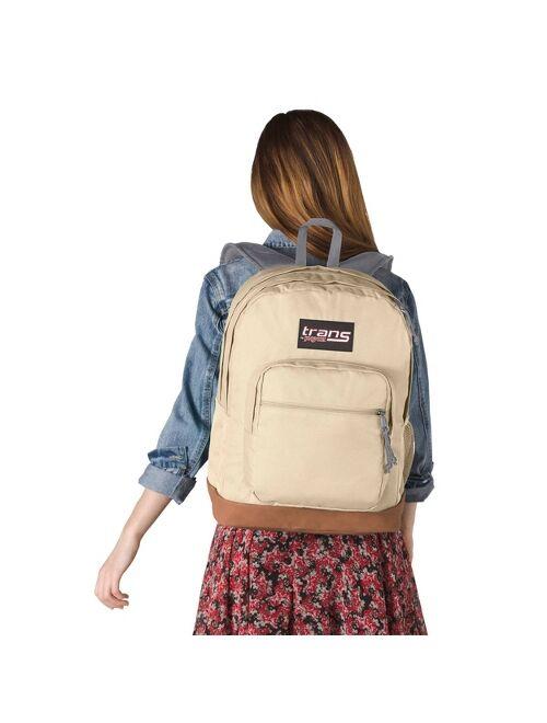 """Trans by JanSport 17"""" Super Cool vintage Backpack - Soft Tan"""