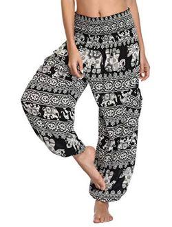 Women's Smocked Waist Boho Floral Print Harem Yoga Pants