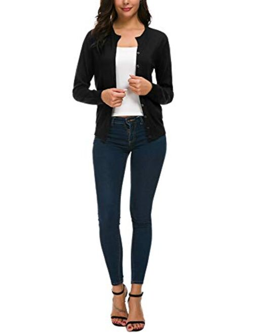 Urban CoCo Women's Long Sleeve Button Down Cardigan Crew Neck Classic Knit Sweater for Women