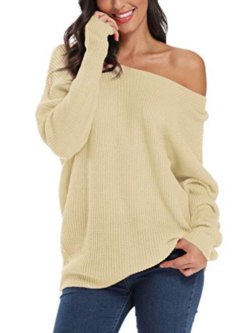 Urban CoCo Women's Boat Neck Knitted Solid Pullover Sweater